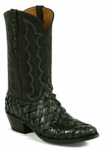 Mens Black Jack Boots Goat Black Maddog - Pirarucu Fish (Inverted)-Charcoal Black 680