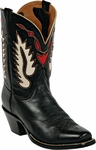 Mens Black Jack Boots Heart & Wings Inlay Goat Peewee Custom Boots 354