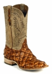 Mens Black Jack Boots Pearl Maddog - Pirarucu Fish (Inverted)-Cognac 683