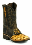 Mens Black Jack Boots - Pirarucu Fish (Inverted)-Saddle Tan/Goat-Brown Maddog 687