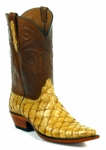 Mens Black Jack Boots Saddle Tan - Pirarucu Fish 685