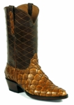 Mens Black Jack Boots Tan Brush Off - Pirarucu Fish-Cognac 681