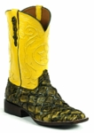 Mens Black Jack Boots Yellow - Pirarucu Fish (Inverted)-Swamp Green 682