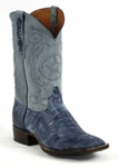 Mens Sanded Teju Lizard / Goat with Tri-Star Cording - Navy Blue Style# 296