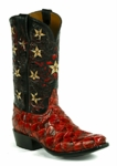 Black Jack Men's Boot Handtooled Stars Pirarucu Fish-Red Custom Boot HT-1407