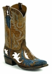 Black Jack Women's Handtooled Aguila Vintage Blue & Tobacco Goat Custom Boots HT-1401