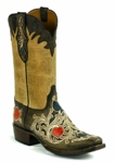 Black Jack Women's Handtooled Poker Suits Brown-Natural Maddog Custom Boot HT-1410