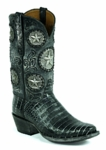 Black Jack Women's Handtooled Texas Star Caiman Belly- Black Greystone HT-1409