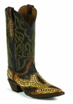 Black Jack Women's Handtooled with Studs Vintage Brown & Yellow Ranch Hand Chocolate Custom Boot HT-1406