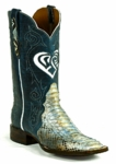 *NEW* Ladies Black Jack Mystic Heart Triad Python Snake Blue/Cream Custom Boots 636