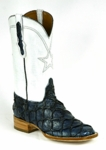 Mens Black Jack Boots Vintage White - Pirarucu Fish (Inverted) - Navy Blue 775