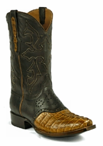 *NEW* Mens Black Jack Caiman Tail Burnished Pull-Up Cognac Custom Boots 719