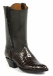 Womens Black Jack American Alligator Belly Chocolate Custom Boots #524BLK