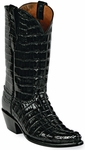 Womens  Black Jack Boots Black Alligator Tail Custom Boots 131
