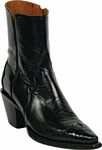 Womens Black Jack Boots Black Goat with Alligator Belly Wing Tip Custom Zipper Boots 1320