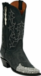 Womens Black Jack Boots Black Maddog Goat & Natural Ring Lizard Wingtip Leather Custom Boots 1425
