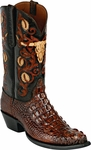 Womens Black Jack Boots Burnished Barnwood Hornback Alligator Custom Boots HT-152