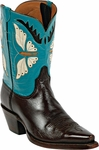 Womens  Black Jack Boots Butterfly Inlay Goat Peewee Custom Boots 367