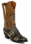 Womens  Black Jack Boots Natural Alligator Tail Custom Boots NT-116