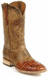 Womens Black Jack Boots Reversed Alligator Tail Burnished Cognac Custom Boots 157