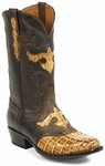 Womens Black Jack Boots Reversed Alligator Tail Burnished Tan Custom Boots 156