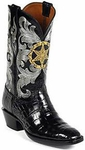 Womens Black Jack Boots Star Badge Black Belly Alligator Custom Boots HT-115