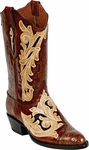 Womens BlackJack Boots Craftsman Hand Tooled Leather & Caiman Crocodile Custom Boots HT73