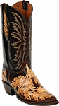 Womens Craftsman Hand Tooled Chocolate & Natural Leather Custom Black Jack Boots HT-15