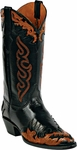 Womens Craftsman Hand Tooled Leather Wingtip Custom Black Jack Boots HT-81