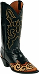 Womens Craftsman Hand Tooled Leather Wingtip Custom Black Jack Boots HT-83