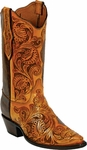 Womens Craftsman Hand Tooled Tan Leather Custom Black Jack Boots HT71