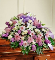 Lavender and White Half Casket Cover