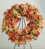 Peach Memorial Standing Wreath