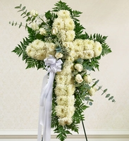 White Cross with White Rose