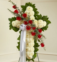 White Standing Cross with Red Rose