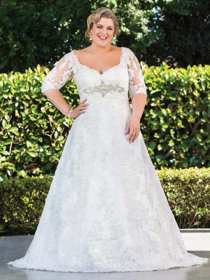 Plus Size Wedding Dresses 3 4 Sleeve : Gallery for gt lace sleeve wedding dress plus size