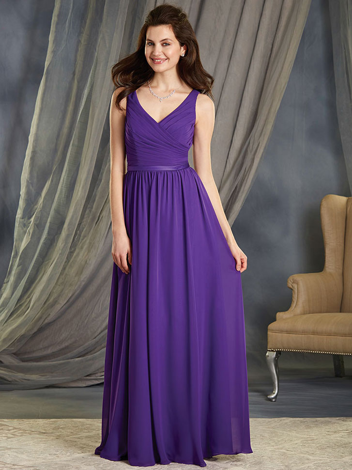 Alfred Angelo 7363L Chiffon Floor Length Bridesmaid Dress ...