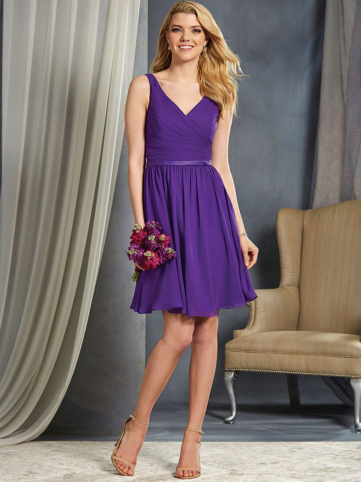 Alfred Angelo 7363S Short Chiffon Bridesmaid Dress|DimitraDesigns.com