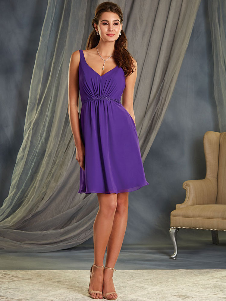 Alfred Angelo 7366S V-neck Short Bridesmaid Dress|DimitraDesigns.com