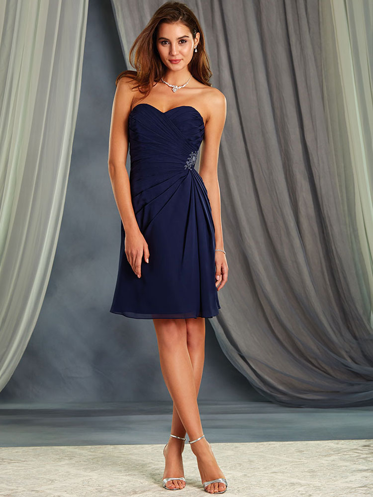 Alfred Angelo 7367S Chiffon Short Bridesmaid Dress|DimitraDesigns.com