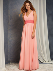 Alfred Angelo 7375L V-neck Bridesmaid Dress