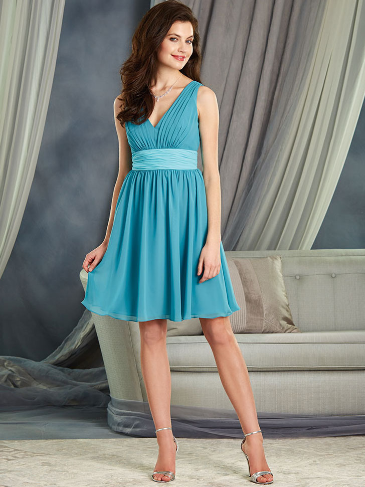 Alfred Angelo 7375S V-neck Short Bridesmaid Dress|DimitraDesigns.com
