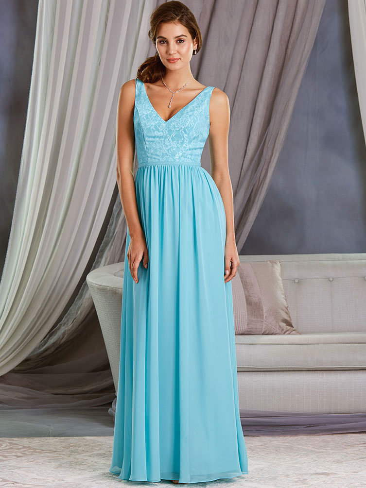 Alfred Angelo 7377L V-neck Floor Length Bridesmaid Dress ...