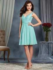 Alfred Angelo 7377S V-neck Bridesmaid Dress