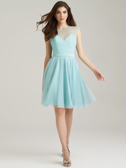 Allure 1468 Illusion Jewel Neckline Bridesmaid Dress
