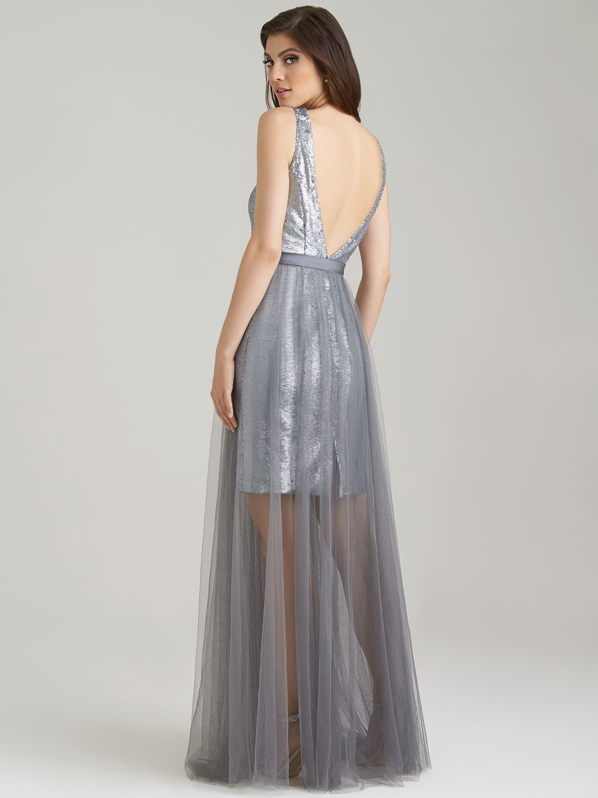 Allure 1470 sequin v neck bridesmaid dressdimitradesigns tulle a line allure bridesmaid dress 1470 ombrellifo Choice Image