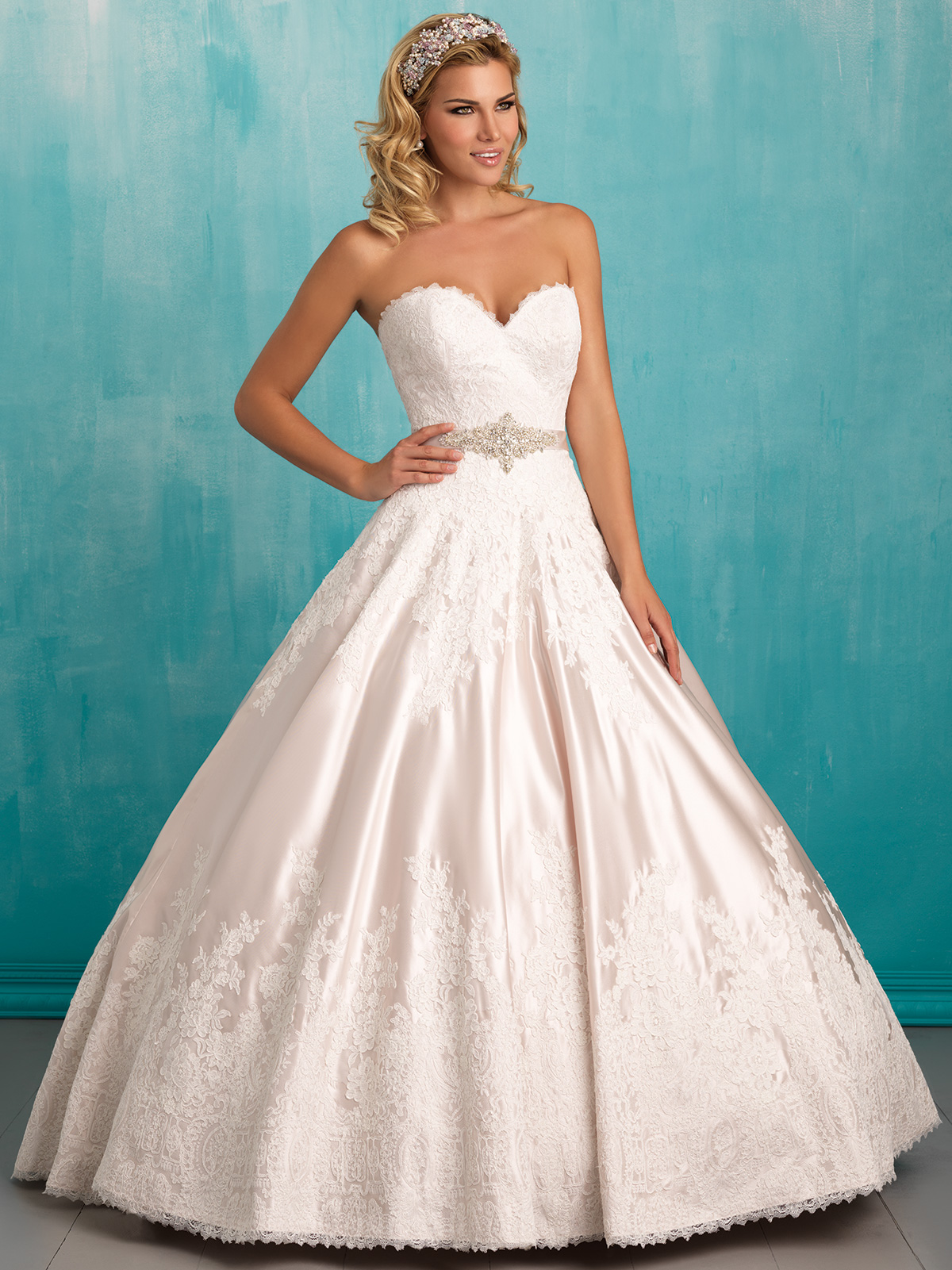 Allure 9303 Sweetheart Satin Ball Gown Bridal Dress|DimitraDesigns.com