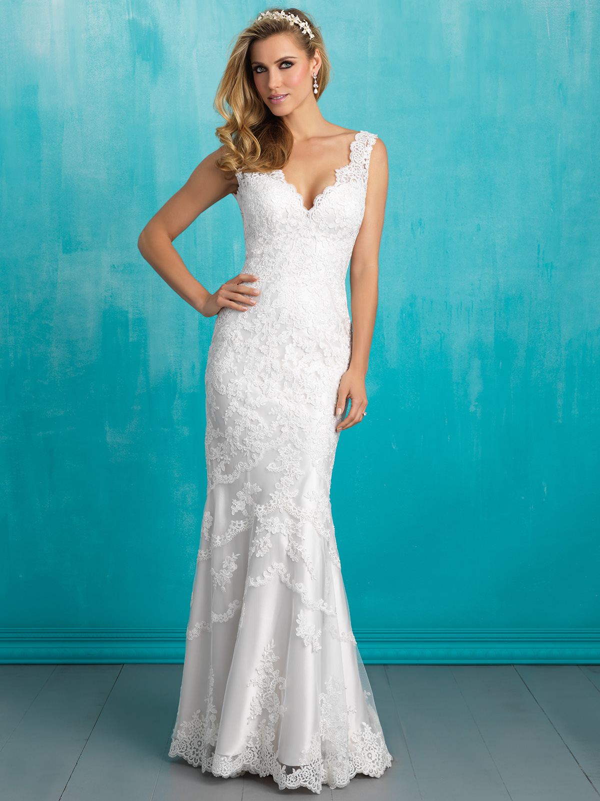 Allure 9304 V-neck Lace Sheath Bridal Dress|DimitraDesigns.com