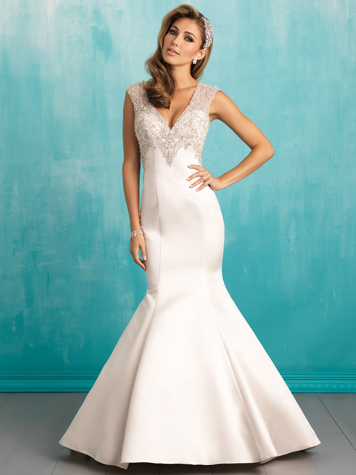 Allure 9306 V-neck Satin Fit And Flare Bridal Dress|DimitraDesigns.com