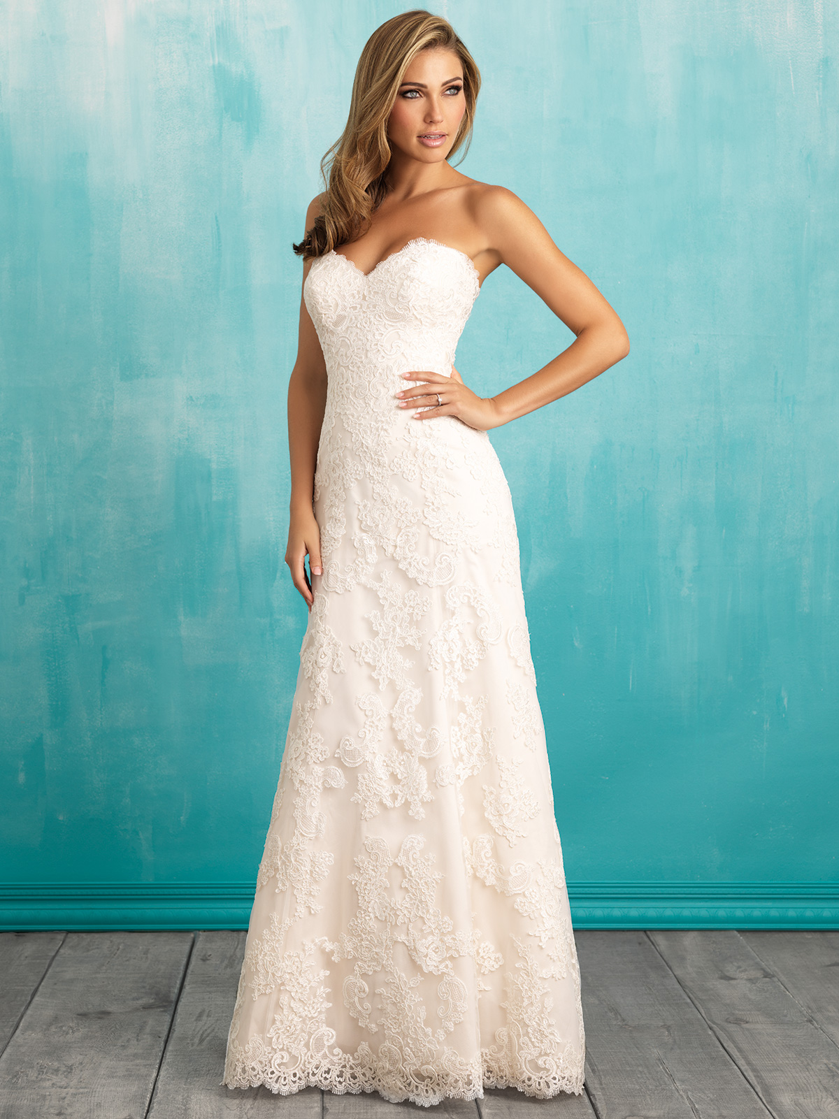 Allure 9309 sweetheart lace a line bridal dress for A line sweetheart lace wedding dress